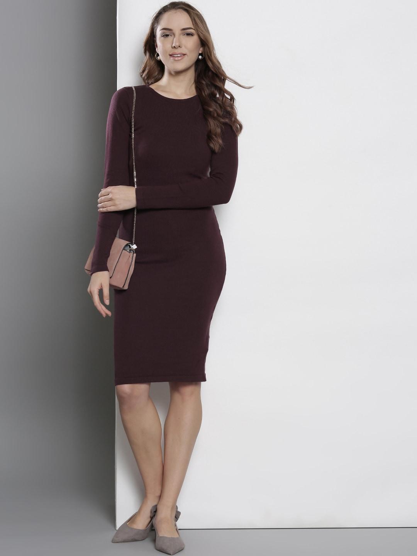 Buy DOROTHY PERKINS Women Burgundy Solid Sweater Dress - Dresses for ... 6e907f3e5