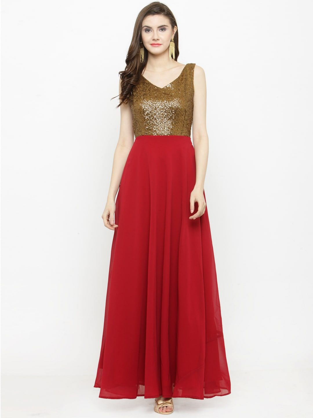 a77e714823 Buy Just Wow Women Copper Toned Embellished Maxi Dress - Dresses for ...