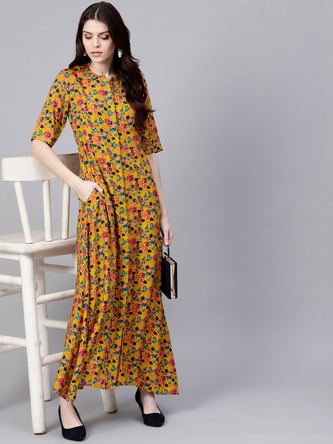 7331efb5981 Aks Mustard Yellow Printed Maxi Dress for women price in India on ...