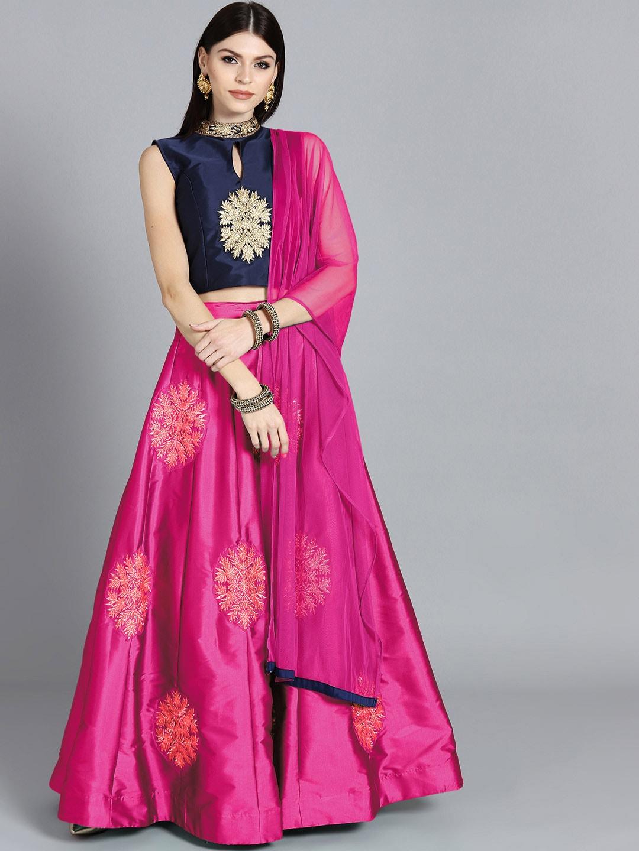 34d9c268d43 Chhabra 555 Magenta   Pink Embellished Made to Measure Lehenga   Blouse  with Dupatta