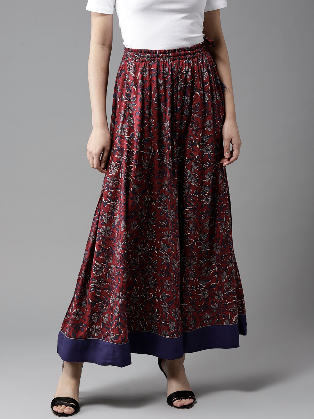92714a90d Buy AKS Maroon & Mustard Yellow Ethnic Print Flared Maxi Skirt ...