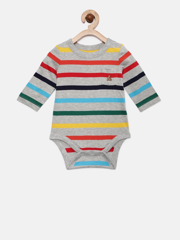 3064c11438a1 Buy GAP Baby Boys  Grey   Blue Stripe Long Sleeve Romper - Rompers ...