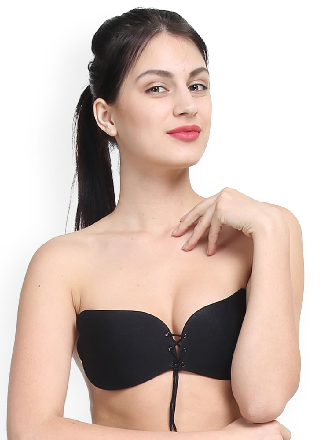 ed006a4f975fc Buy N Gal Black Solid Non Wired Lightly Padded Stick On Push Up Bra ...