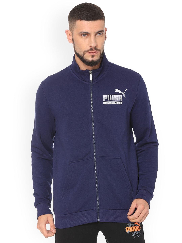 4faf6b30734e Buy Puma Men Blue Solid ESS Sweat Jacket