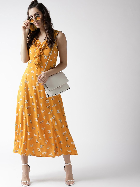 448d89b6bf Buy Aasi Women Mustard Yellow Printed Maxi Dress - Dresses for Women ...
