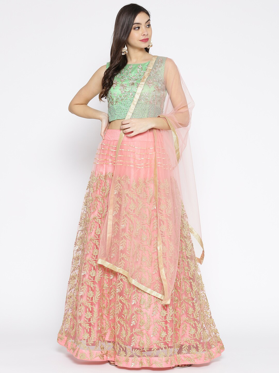 bf18f9c480d Chhabra 555 Green   Pink Embellished Made to Measure Lehenga   Blouse with  Dupatta
