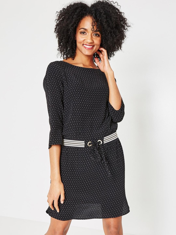 8c57c5b7b3 Buy GAP Women Black Crochet Panel Tie Belt Dress - Dresses for Women ...