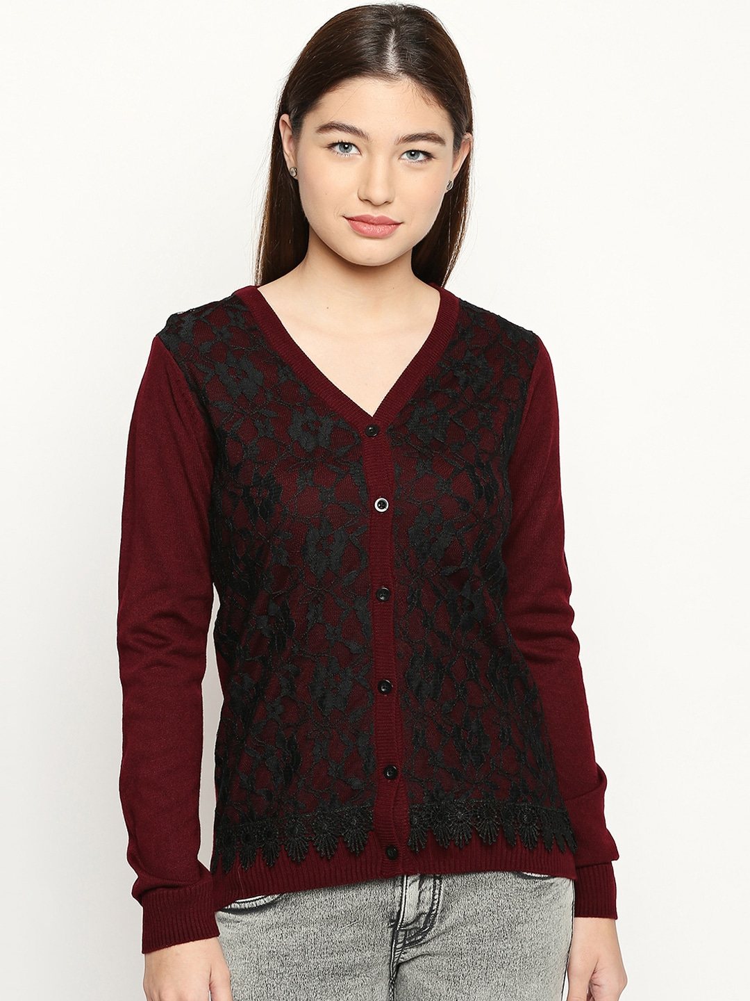 Buy American Eagle Outfitters Women Burgundy Solid Pullover Sweater