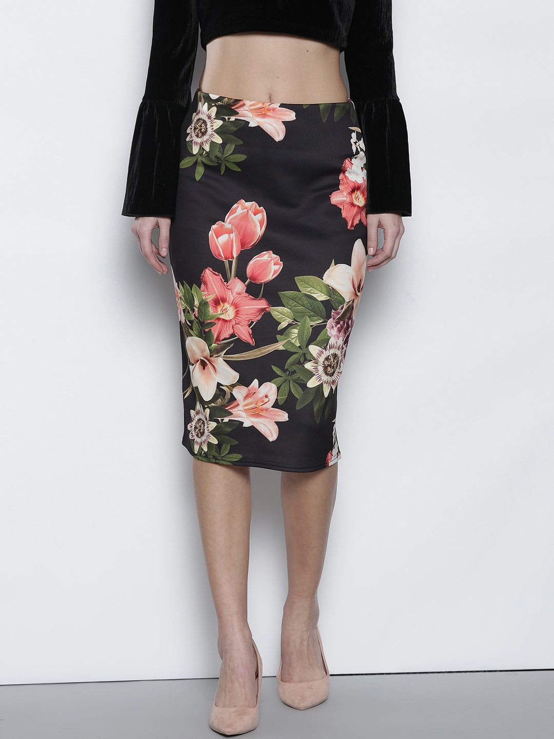 01903f881d Dorothy Perkins Black Floral Pencil Skirt for women price in India ...