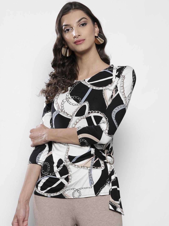 0918763bcda Buy DOROTHY PERKINS Women Black & Off White Striped Top - Tops for ...