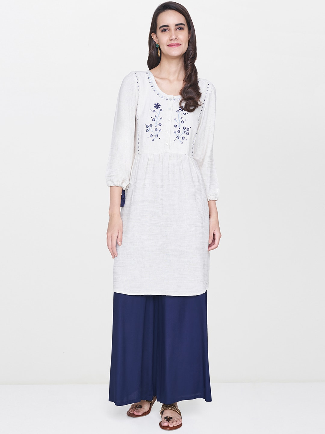 11caccf27f411 Global Desi Off White Embroidered Viscose Blend Tunic for women ...
