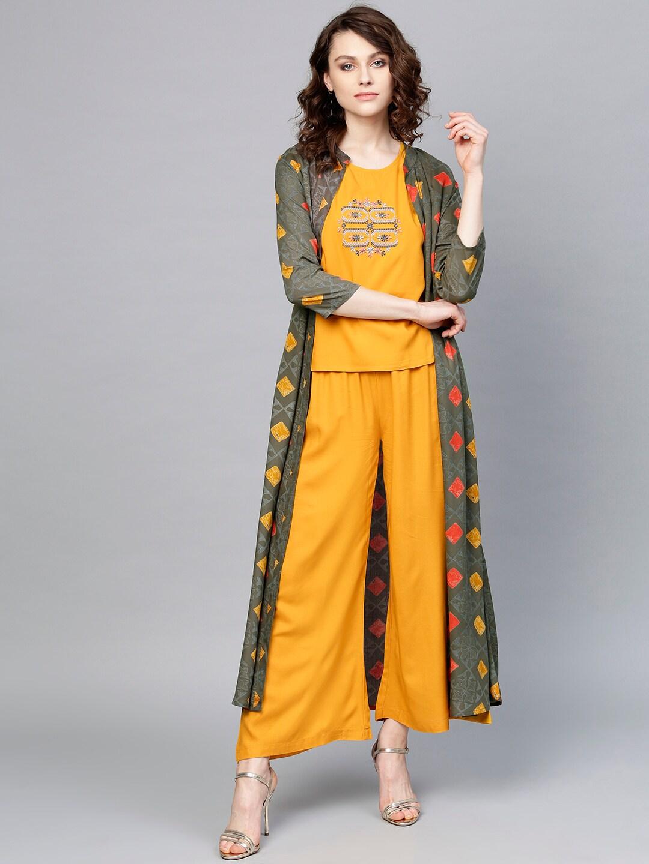 c0642eec0902b Buy Pannkh Women White   Navy Blue Printed Top   Dhoti Pants With ...