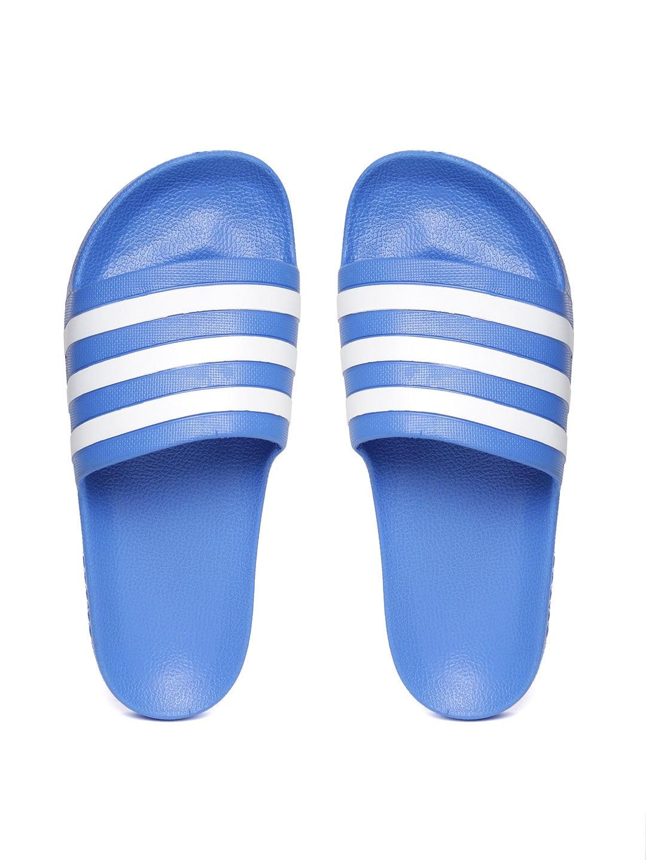 7a0f3e2b6 ... FLIP FLOPS MEN. MYNTRA MYNTRA. ADIDAS Unisex Blue   White Adilette Aqua  Striped Sliders