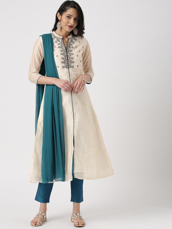 8d3f77b824975 Buy IMARA Women White & Black Embroidered Kurta With Leggings ...
