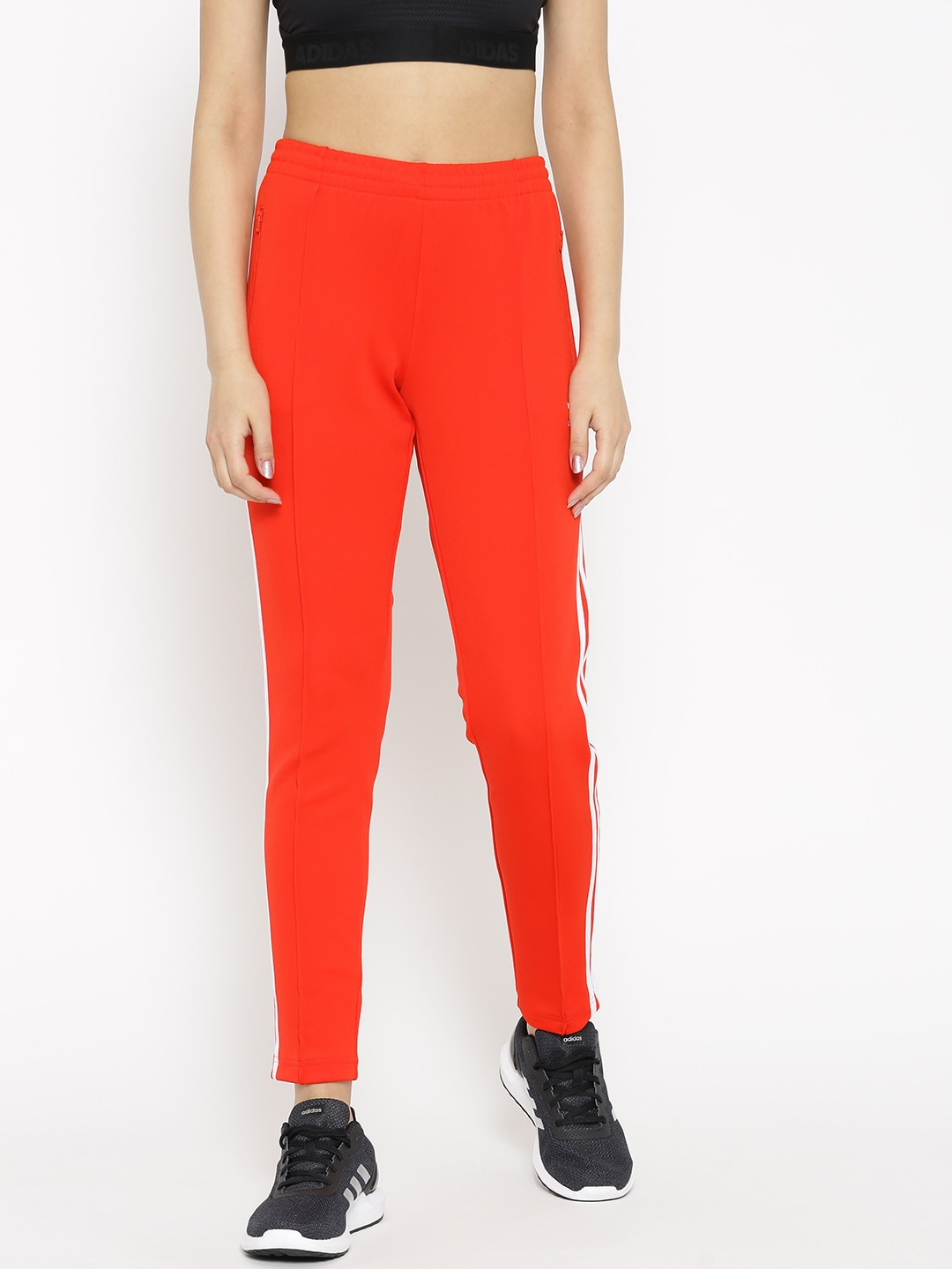 c63ec4329 Buy ADIDAS ORIGINALS Women Red & White Striped Cropped Joggers ...