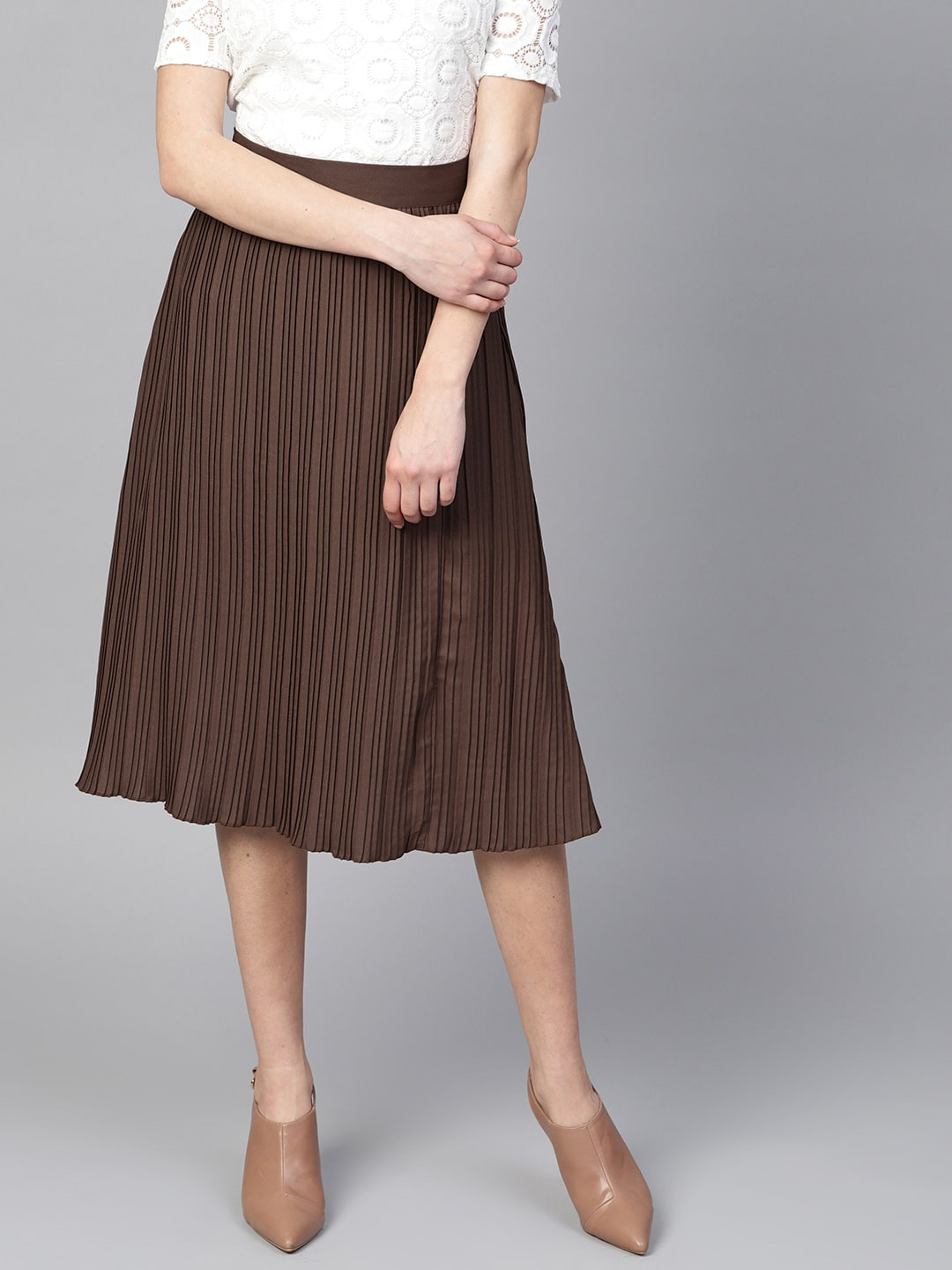 8810a3e5e9 Buy Marks & Spencer Women Grey Melange Solid Accordion Pleated A ...
