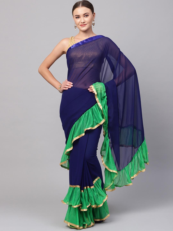 8b7b00a11bb Buy Ishin Navy Blue Solid Ruffled Saree - Sarees for Women 9005077 ...