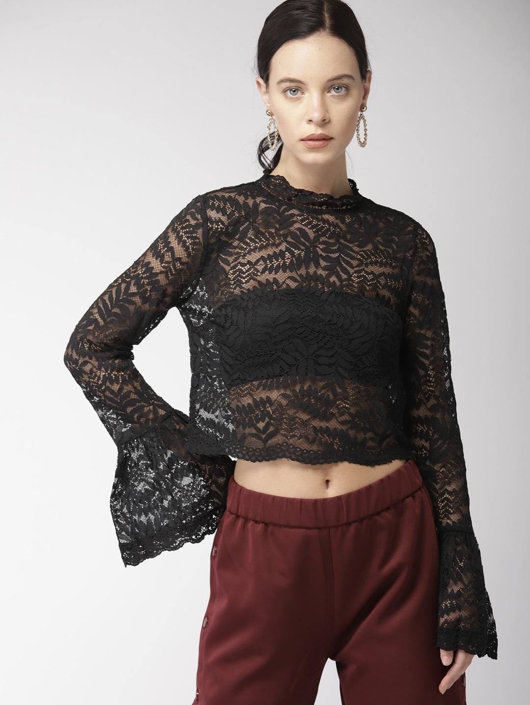 23c706c484ad34 Buy FOREVER 21 Women Red Striped Velvet Top - Tops for Women 9049291 ...