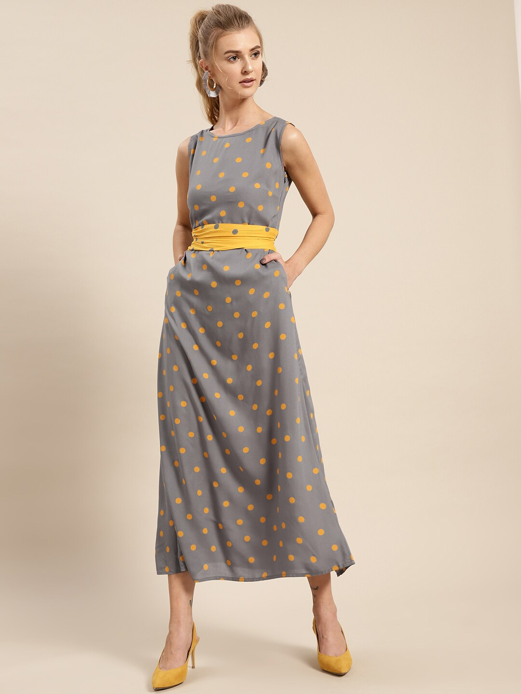 307bbc33222 Buy AKS Couture Women Yellow   Grey Polka Dot Printed Maxi Dress ...