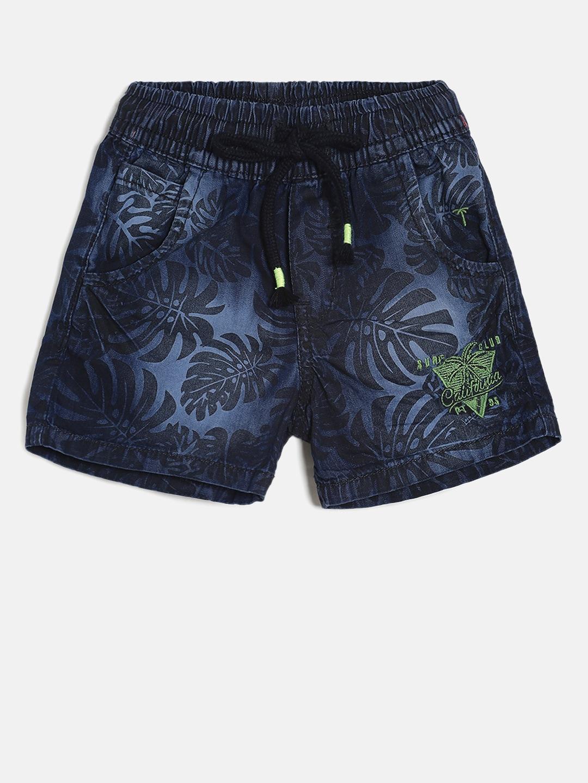 834a1fa367 Buy Palm Tree Boys Olive Green & Black Printed Regular Fit Cargo ...