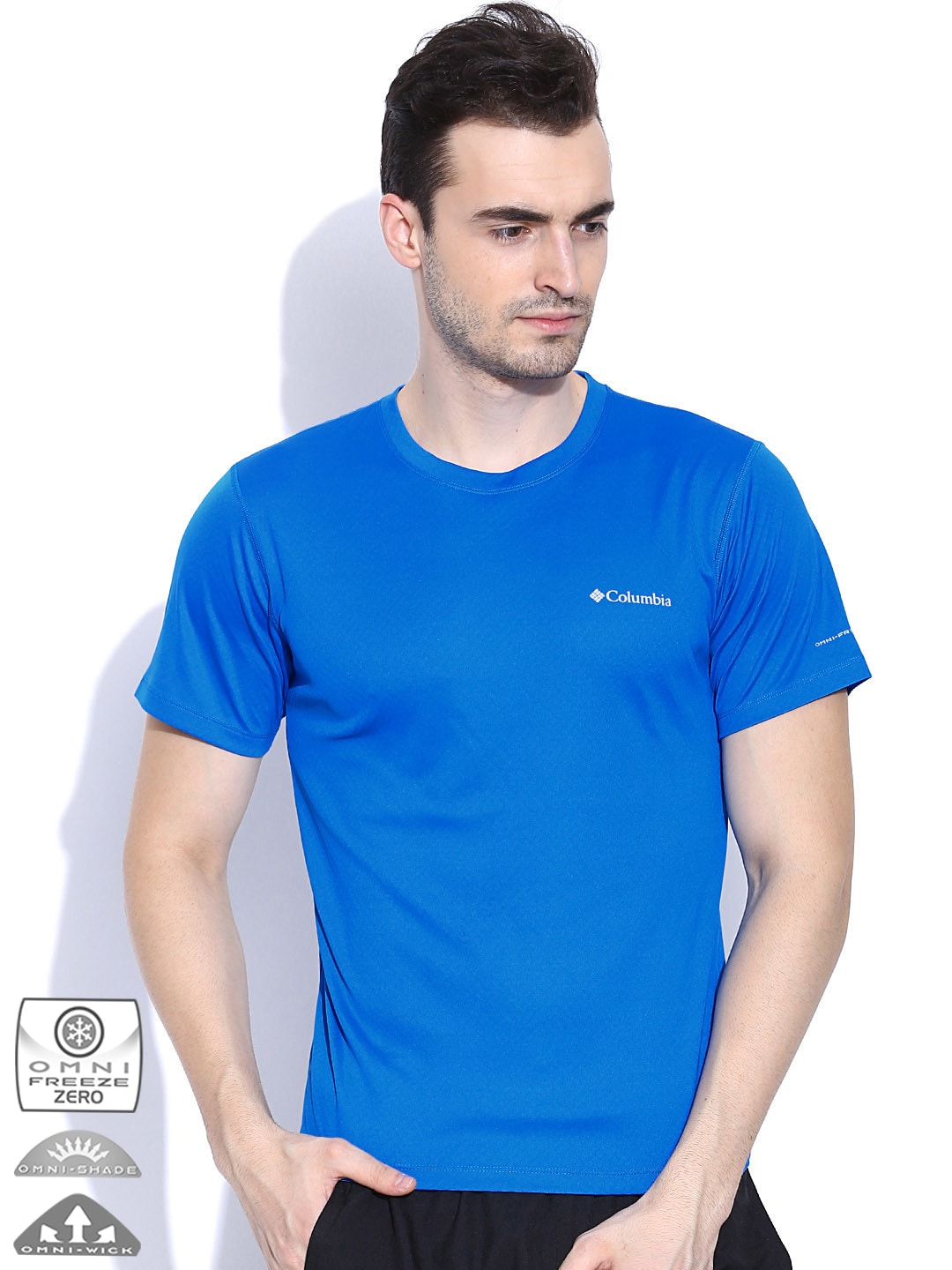 4bf911917cd Columbia ae6084-hyper-blue-plaid Blue Zero Rules T Shirt- Price in India