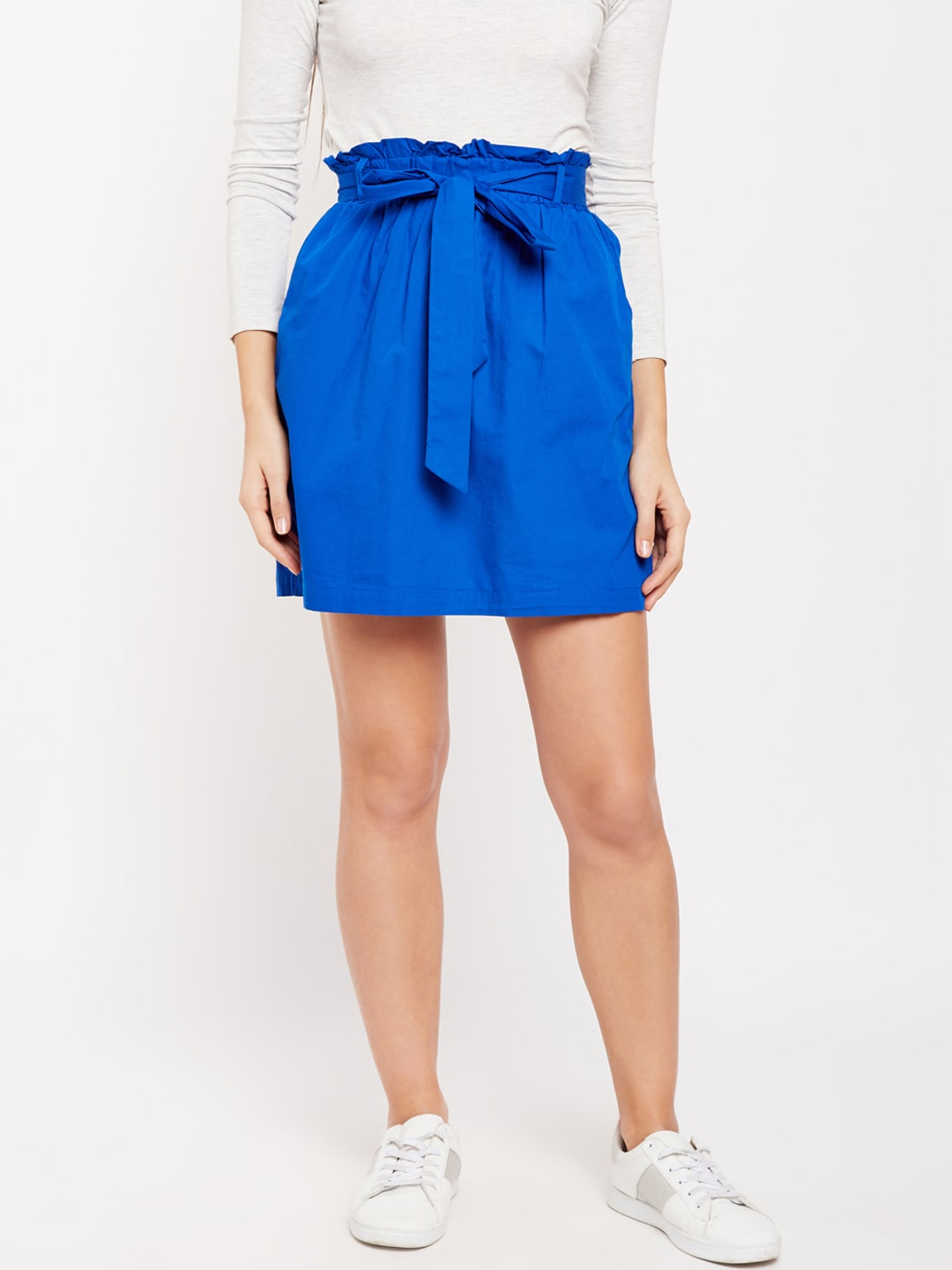 Buy Oxolloxo Blue Solid Frill Skirt - Skirts for Women