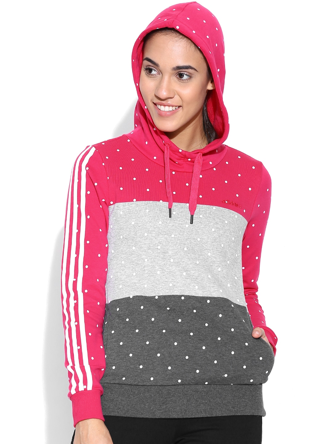 Adidas neo ab8888 Pink And Grey Cb Dot Print Hooded