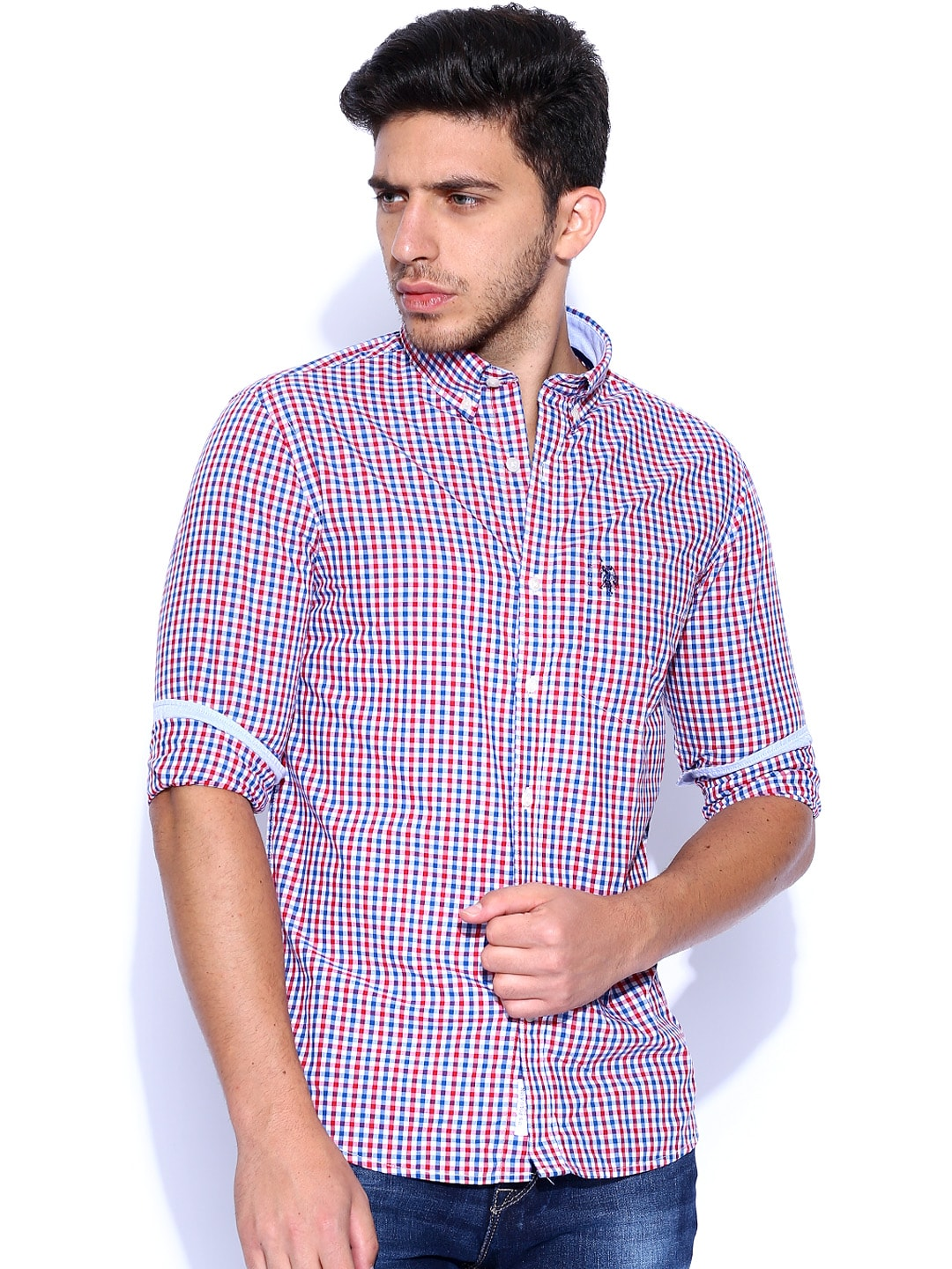 c0e9bf9bc Us polo assn usshc0043 White And Red Checked Casual Shirt- Price in India