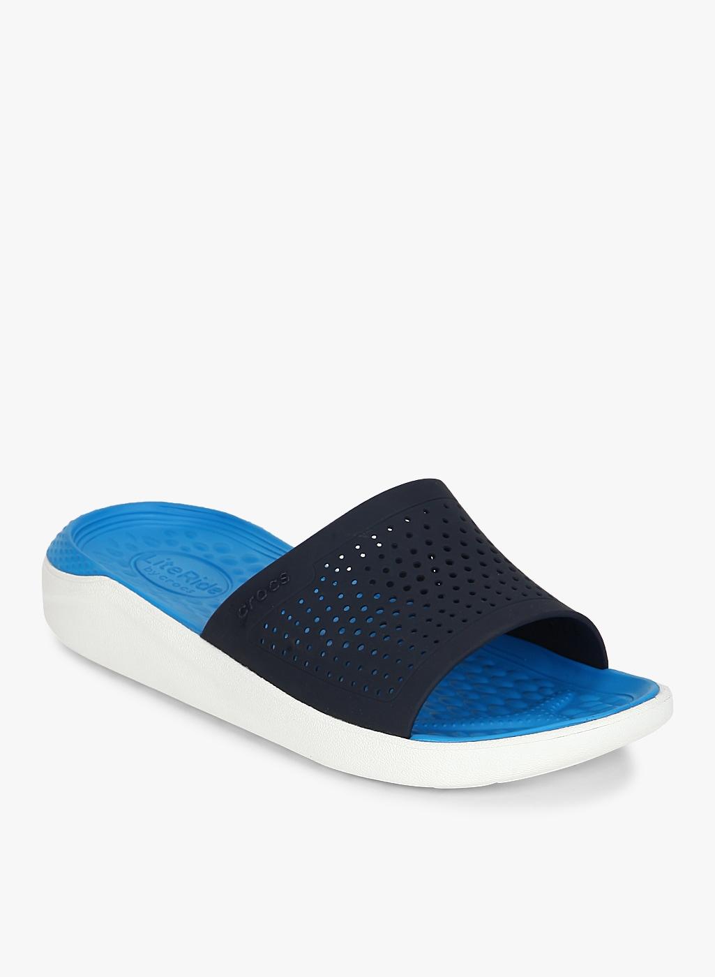 45f613caf87ad Crocs Bayaband Slide Navy Blue Flip Flops for women - Get stylish ...