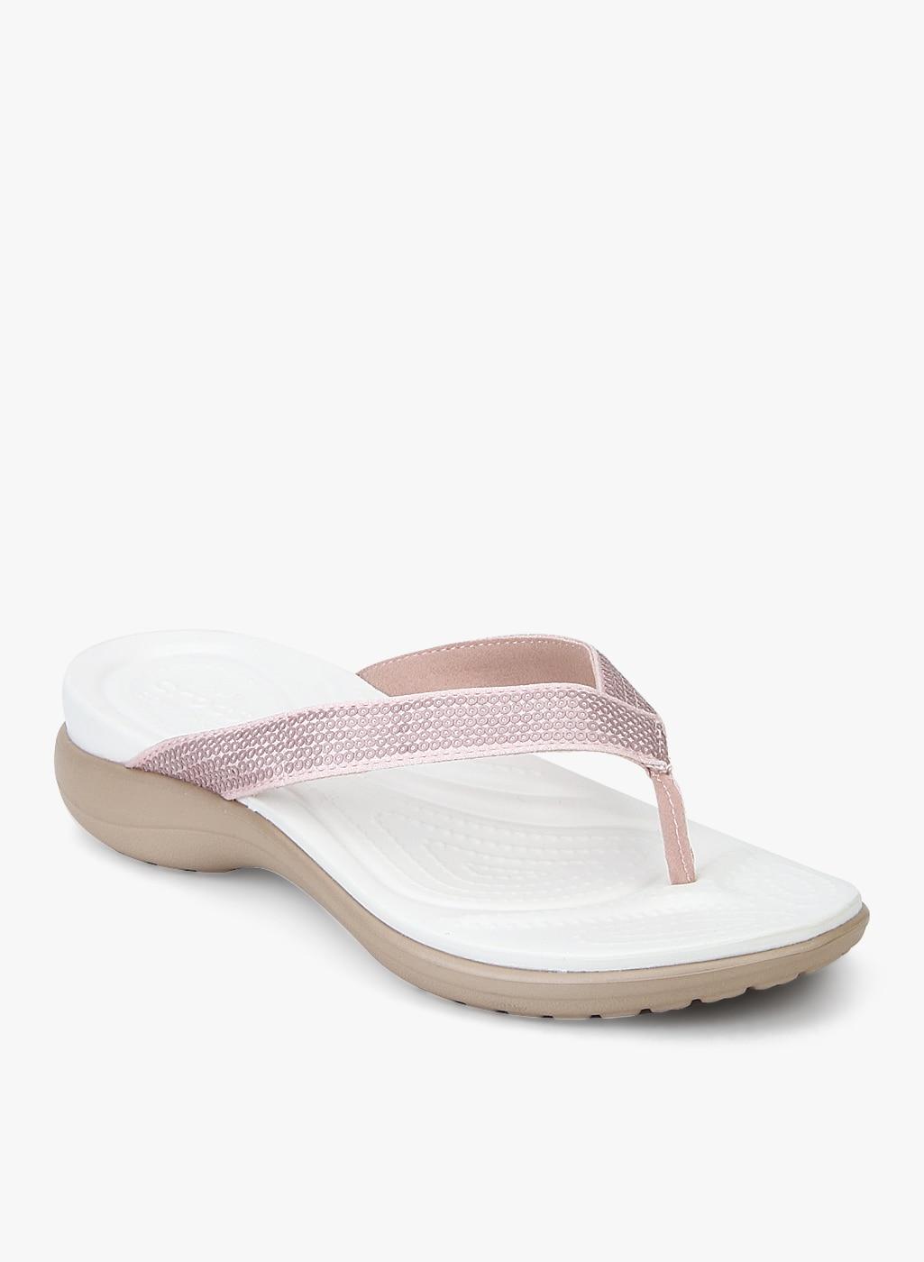 e4418b1bdebc Crocs Capri V Sequin W Peach Flip Flops for women - Get stylish ...