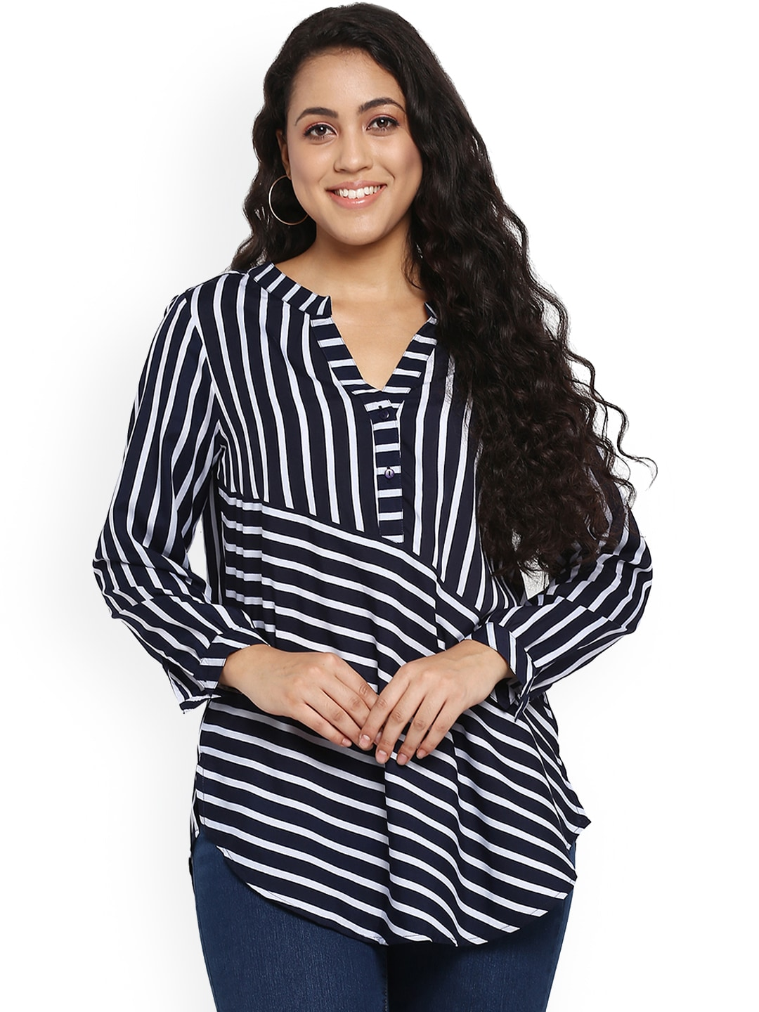 a83fb366f25 Buy Qurvii Women Blue Striped Top - Tops for Women 7431582