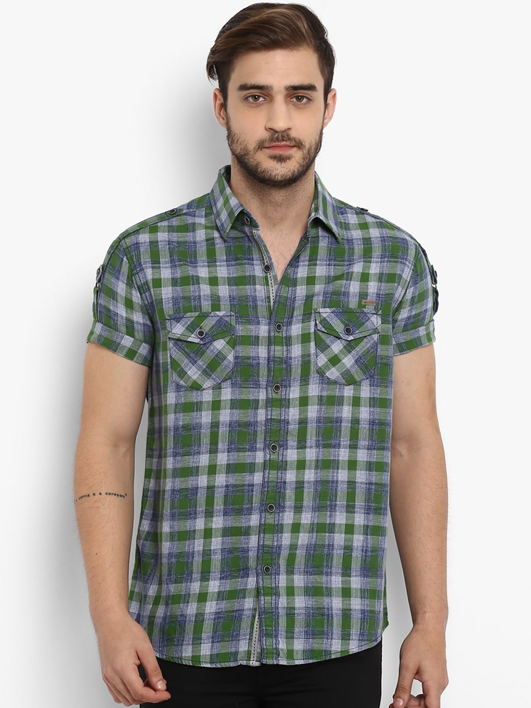 11d8fa0d Buy Mufti Men Rust Brown & Navy Blue Slim Fit Checked Casual Shirt ...