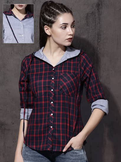 802be72876 Roadster Women Navy Blue   Blue Regular Fit Checked Casual Shirt