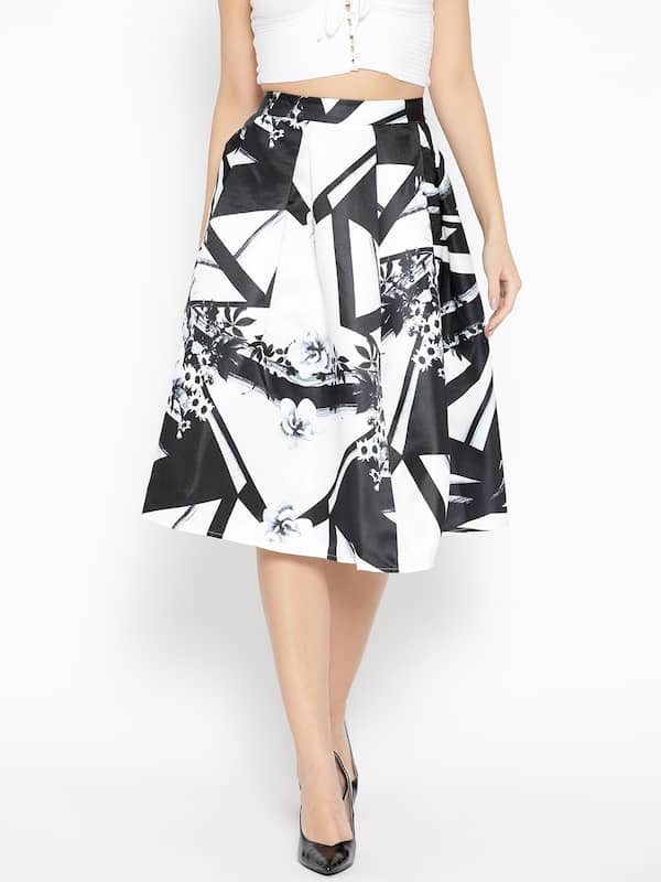LC Waikki Ladies Women A-line Shape Knee Length Floral Print Self-tie Belt Skirt