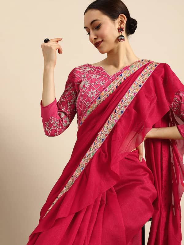 Ruffle Saree - Buy Ruffle Saree online in India