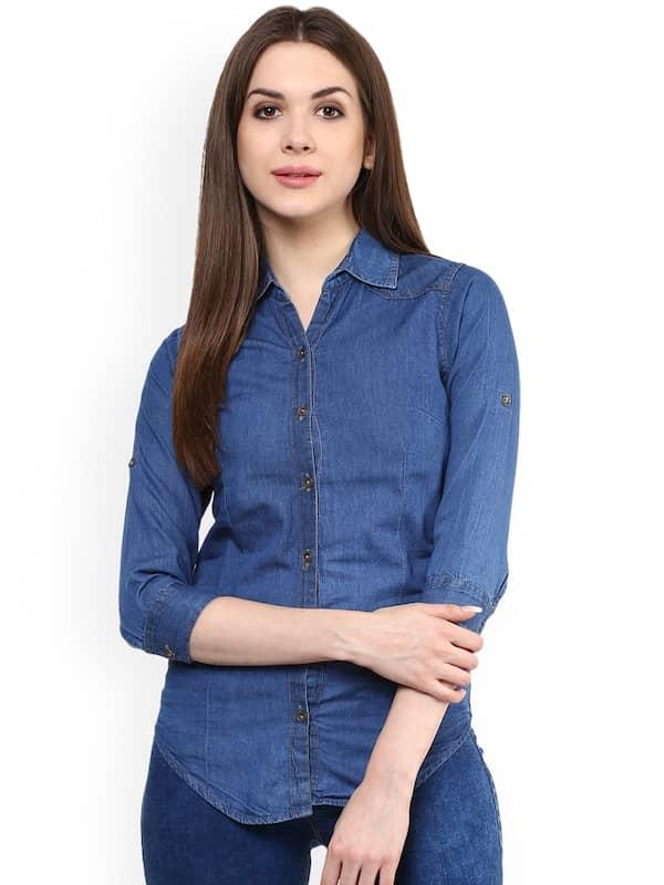 0a1edc3e7 Denim Shirts For Women - Buy Women Denim Shirts Online At Myntra