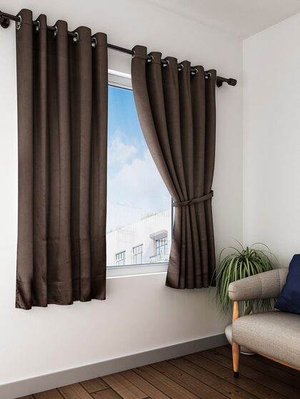 Home Sizzler Black Out Window, Black And Brown Curtains