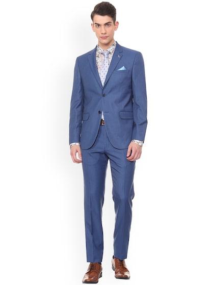 Buy V Dot Men Blue Solid Slim Fit Two Piece Suit Suits For Men 9096833 Myntra