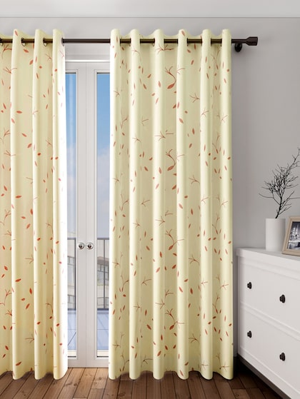 Buy Ariana Cream Coloured Single Embroidered Room Darkening Long Door  Curtain - Curtains And Sheers for Unisex 1910334 | Myntra