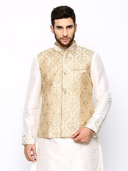 Buy Manyavar Cream Coloured Embroidered Nehru Jacket - Nehru Jackets for Men  | Myntra