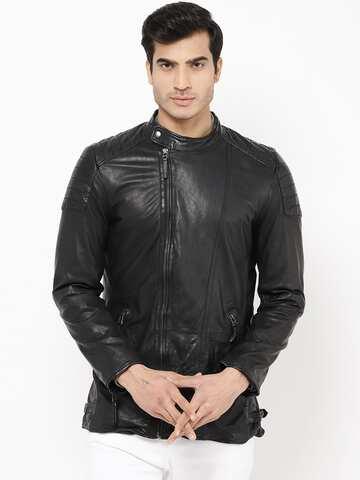 Noora Mens Genuine Lambskin Leather Jacket Black Slim fit Biker Motorcycle S8