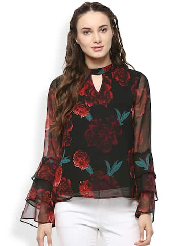06b9f8aee8885 Black Tops - Buy Black Colour Tops Online in India