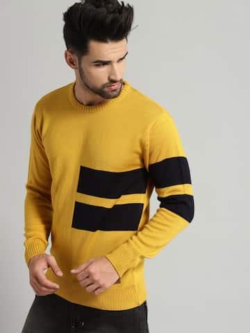 Men Mustard Sweaters , Buy Men Mustard Sweaters online in India
