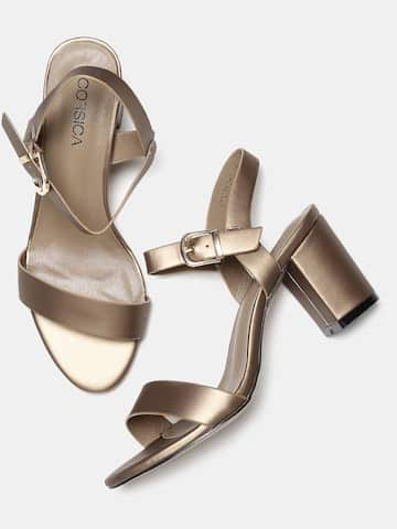 0fad04171bfe4 Elle Women Rose Gold-Toned Solid Heeled Mules