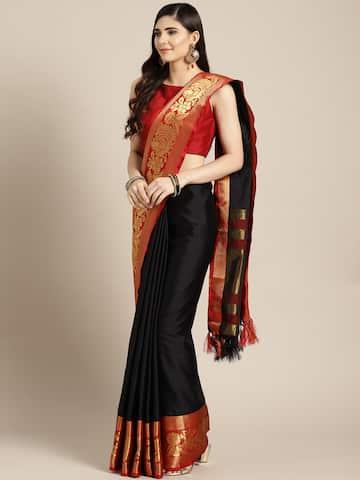 d14cec383a589e Black Saree - Black Designer Sarees Online @ Best Price | Myntra
