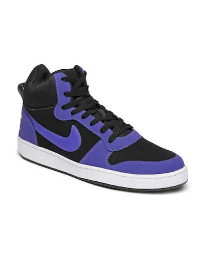 Nike Men Black & Blue Perforated Mid-Top Court Borough Trainers