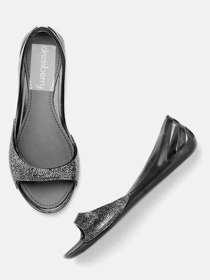 1aedfd12238 DressBerry Women Black Water-Resistant Embellished Open Toe Jelly Flats