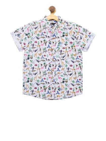 nick/&jess Boys Regular Fit Cotton Printed Shirt 3-12 Years