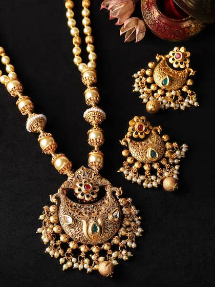 Ladies Pendant set Necklace Earring Faux Pearl Gold Plated Pendant Crystal stone
