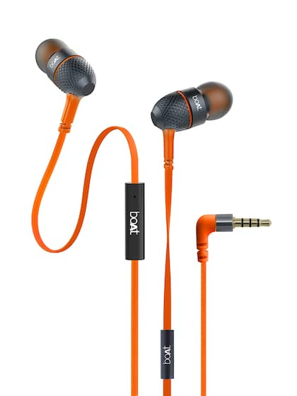 boAt BassHeads 220 Orange Tangle-free Wired Earphones with Enhanced Bass & Metal Finish